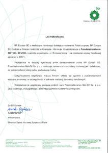 Hurtowa i detaliczna sprzedaż paliw - Referencja BP Europa SE dla MAT-OIL