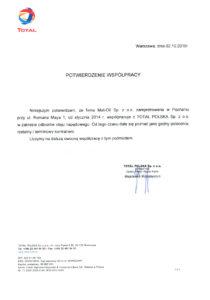 Olej napędowy z dostawą - Referencja Total Polska dla MAT-OIL